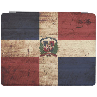 Dominican Republic Flag on Old Wood Grain iPad Cover