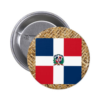 Dominican Republic Flag on Textile themed 6 Cm Round Badge