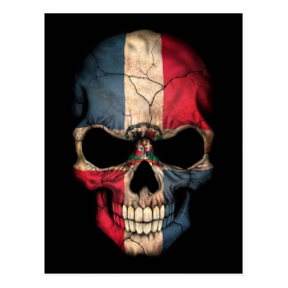 Dominican Republic Flag Skull on Black Postcard