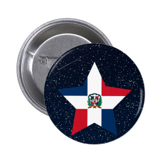 Dominican Republic Flag Star In Space 6 Cm Round Badge