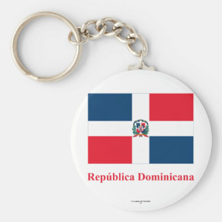 Dominican Republic Flag with Name in Spanish Basic Round Button Key Ring