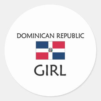 DOMINICAN REPUBLIC GIRL ROUND STICKER