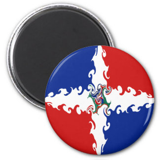 Dominican Republic Gnarly Flag 6 Cm Round Magnet