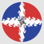 Dominican Republic Gnarly Flag Round Stickers