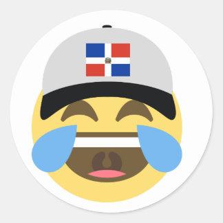 Dominican Republic Hat Laughing Emoji Round Sticker
