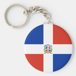 Dominican Republic High quality Flag Basic Round Button Key Ring