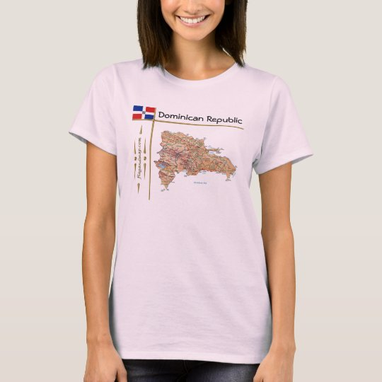 Dominican Republic Map + Flag + Title T-Shirt