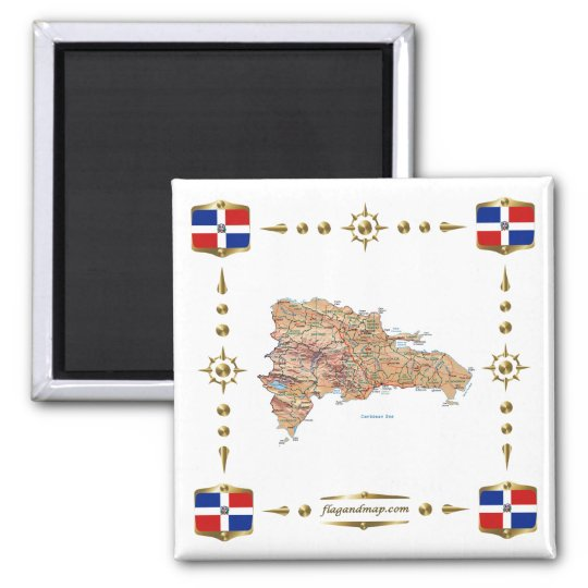 Dominican Republic Map + Flags Magnet