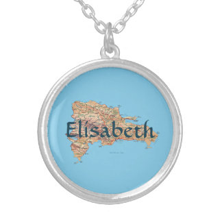 Dominican Republic Map + Name Necklace