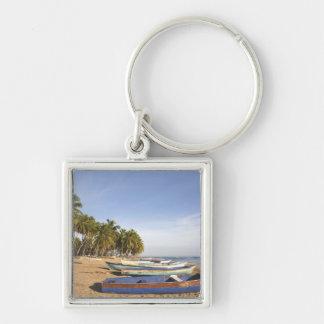 Dominican Republic, North Coast, Nagua, Playa Silver-Colored Square Key Ring