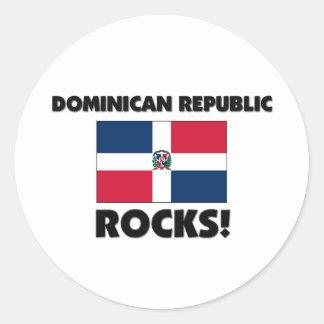 Dominican Republic Rocks Round Sticker