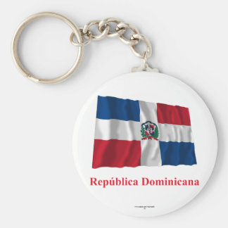 Dominican Republic Waving Flag w/ Name in Spanish Basic Round Button Key Ring