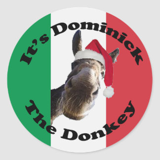 dominick the donkey classic round sticker