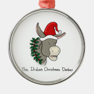 Dominick the Italian Christmas Donkey Silver-Colored Round Decoration
