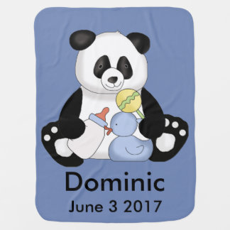 Dominic's Personalized Panda Baby Blanket