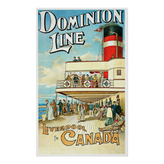 Dominion Line Passenger Ship Vintage Travel Poster