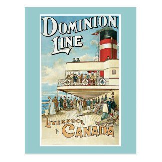 Dominion Line Vintage Travel Poster Postcard