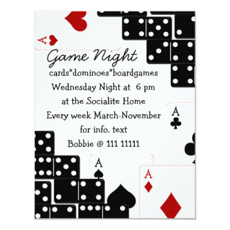 Domino Aces 11 Cm X 14 Cm Invitation Card