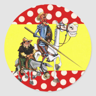 DON QUIJOTE & SANCHO & Flamenco-Spanish Flag Round Sticker