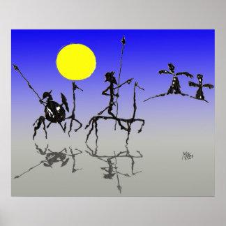 Don quijote y Sanchopanza (Digital color) Poster