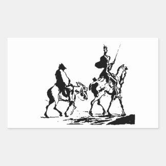 Don Quixote and Sancho Panza art Rectangular Stickers