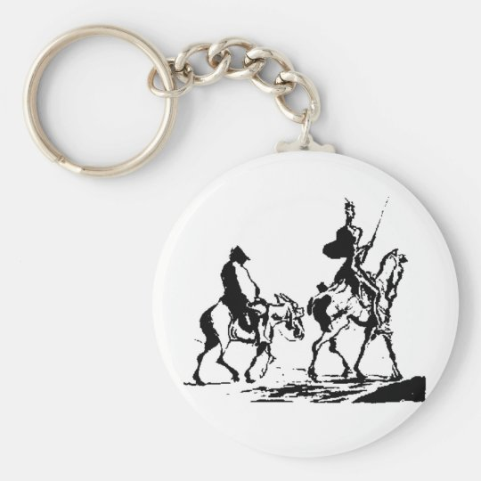 Don Quixote and Sancho Panza Basic Round Button Key Ring