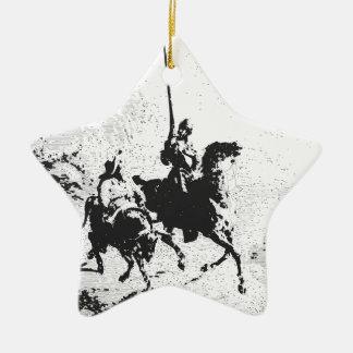 Don Quixote and Sancho Panza Ceramic Star Decoration