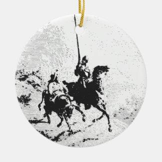 Don Quixote and Sancho Panza Round Ceramic Decoration