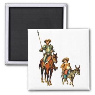 Don Quixote and Sancho Panza Square Magnet