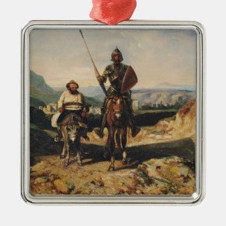 Don Quixote and Sancho Silver-Colored Square Decoration