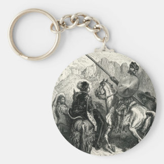 Don Quixote and the lady Key Ring