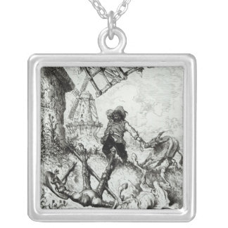Don Quixote and the Windmills Silver Plated Necklace