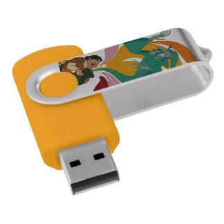 Don Quixote, author & characters by @QUIXOTEdotTV Swivel USB 2.0 Flash Drive