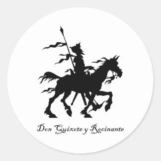 Don Quixote y Rocinante Round Sticker