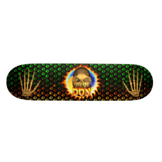 Don skull real fire and flames skateboard design