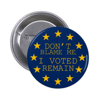 Don't Blame Me, I Voted Remain 6 Cm Round Badge