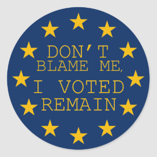 Don't Blame Me, I Voted Remain Classic Round Sticker