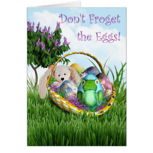 Egg puns easter gifts gift ideas zazzle uk dont froget the eggs frog egg easter basket card negle Image collections