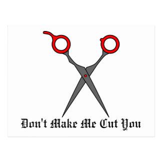 Don't Make Me Cut You Red Hair Cutting Scissors Post Card