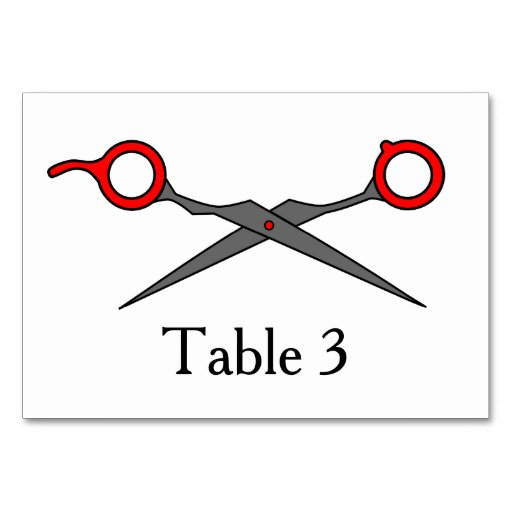 Don't Make Me Cut You -Red Hair Cutting Scissors Table Cards