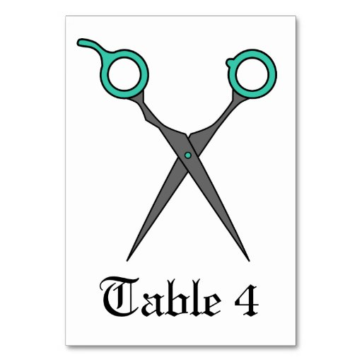 Don't Make Me Cut You -Turquoise Hair Scissors Table Cards