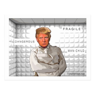 Donald in a straitjacket anti Trump painting Postcard