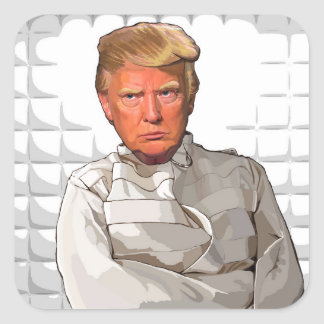 Donald in a straitjacket anti Trump painting Square Sticker