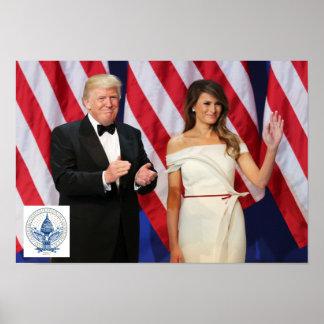 Donald & Melania Trump With Inauguration 2017 Logo Poster