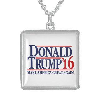 Donald Trump 2016 'Make America Great Again' Square Pendant Necklace
