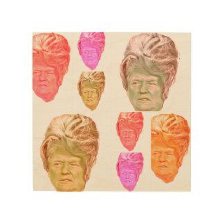 Donald Trump Beehive Wig Print on Birch Wood