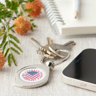 Donald Trump for President Silver-Colored Swirl Key Ring