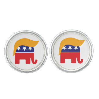 Donald Trump Hair GOP Elephant Logo Cuff Links
