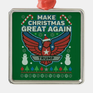 Donald Trump Make Christmas Great Again Silver-Colored Square Decoration