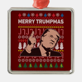 Donald Trump Merry Trumpmas Holiday Silver-Colored Square Decoration